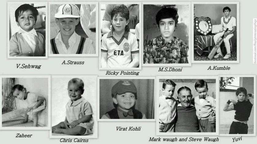 Photos of cricketers as children.