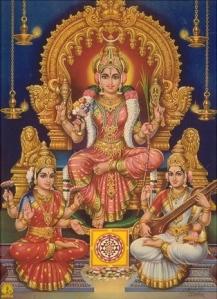 Durga _Lakshmi+ Saraswati._