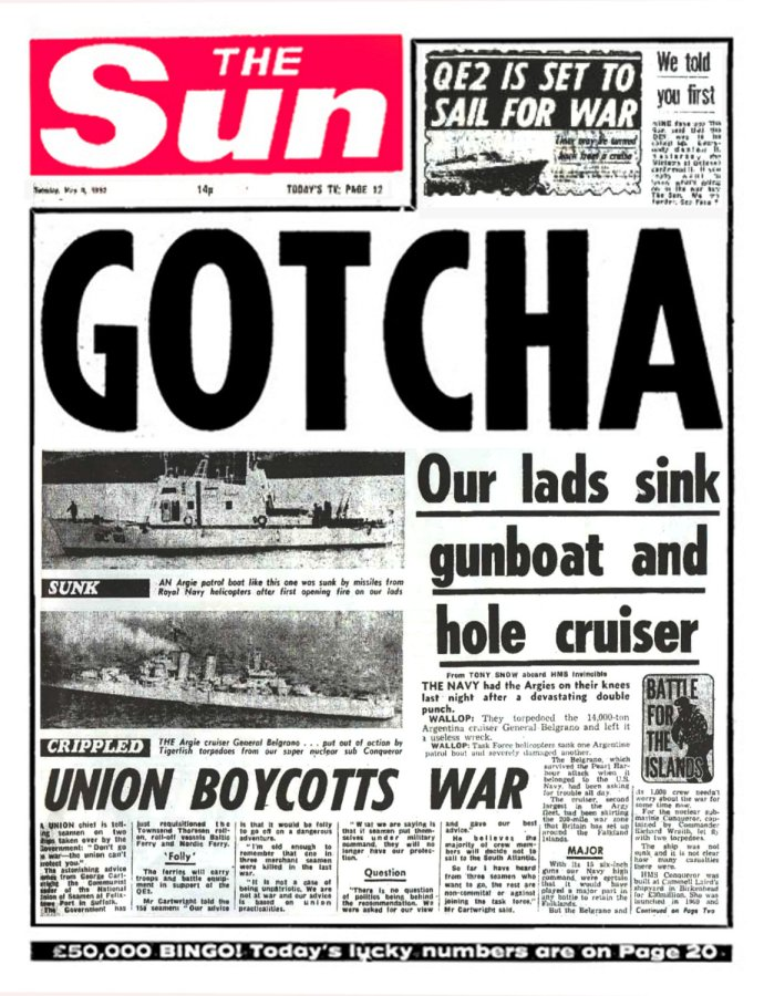 SUN Coverage Falklands War
