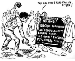 cartoon Depicts Anti Hindi agitation