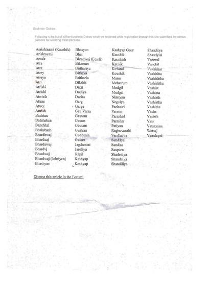 Brahmin Gotra List | Ramani's blog