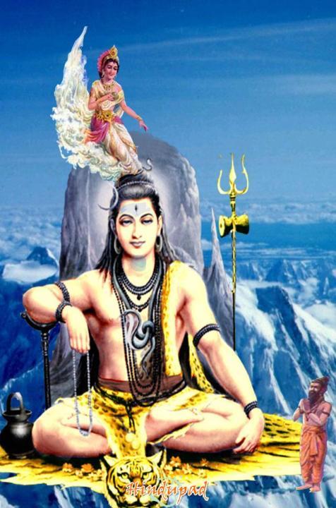 Ganges descending into Shiva's Matted Locks.Jatadhara Shiva.jpg