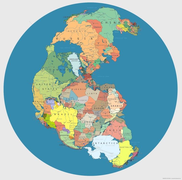 Map of Pangaea, super continent