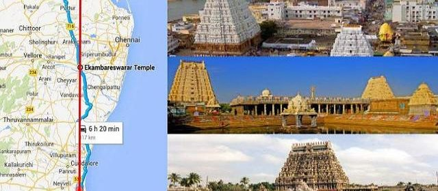Shiva Temples in Straight Line Geometrically aligned
