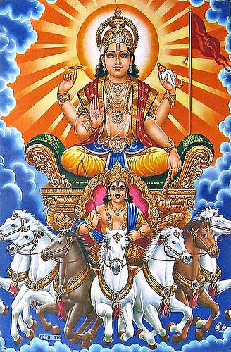 the sun god Surya in Hinduism
