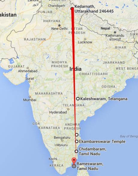 Shiva Temples Same Longitude ,India