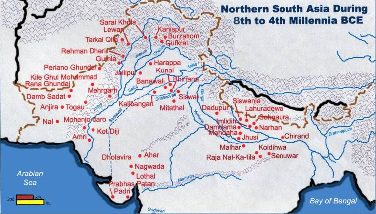 Sites of ancient India around Harappa.