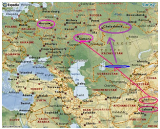 Map showing Russia an India.