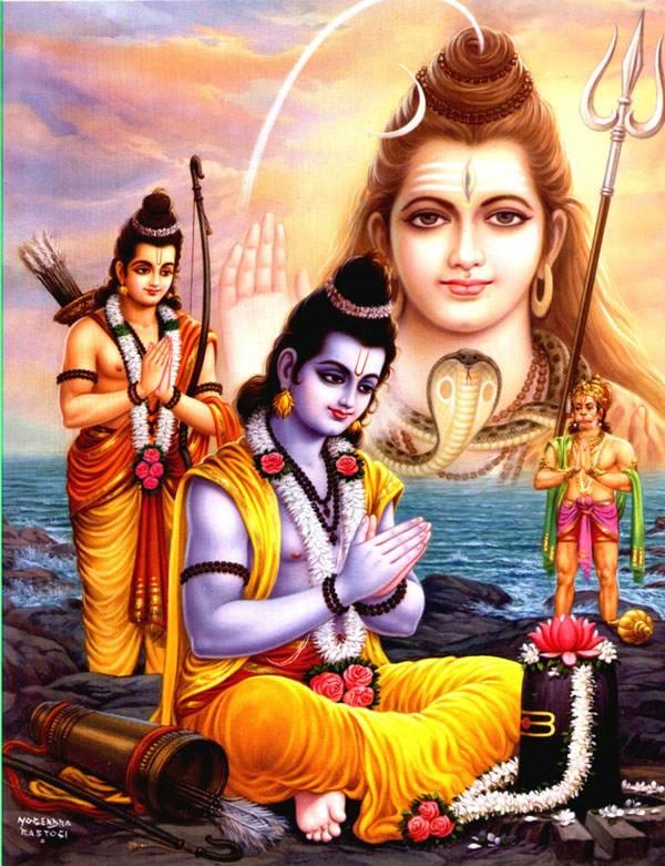 Rama worships Shiva. Image