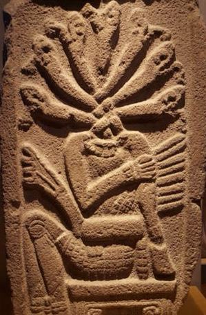 Seven hooded Snake Deity in Mexico.image.