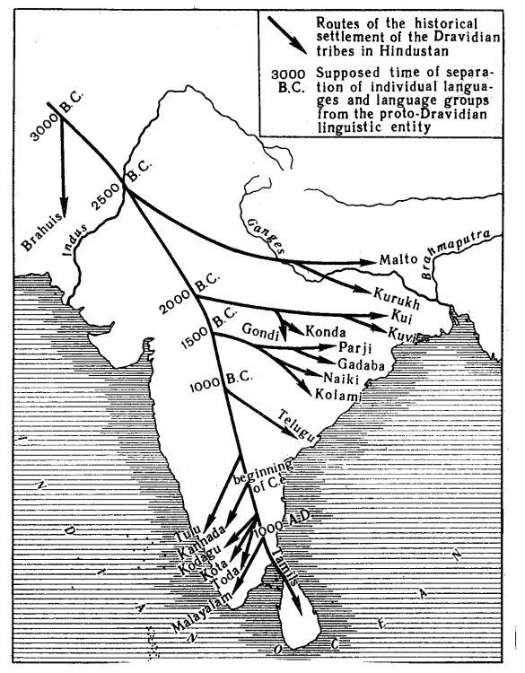 Route of Dravidian movement. Image