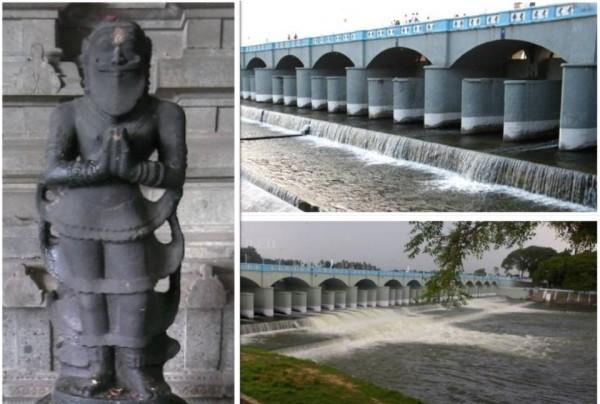 Karikal Chozhan and Grand Anicut built by him. Image.