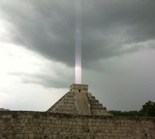 Mayan Pyramid Shoots Light Beam up