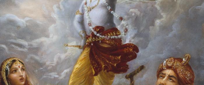 Krishna lifts Govardhana Giri.image