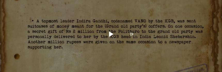 Indira Gandhi, mole of KGB was paid Money 💰 KGB.image