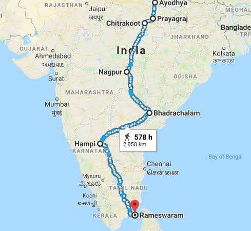 Rama's journey , Ayodhya to Lanka.imae