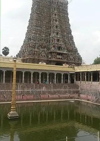 Meenakshi Temple Madurai with Temple Tank. Image